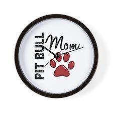 Pit Bull Mom 2 Wall Clock