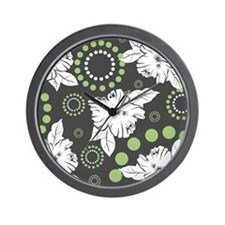Green Hibiscus Print Wall Clock