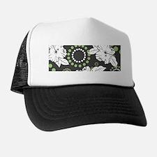 Green Hibiscus Print Trucker Hat