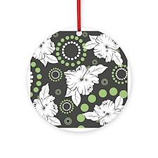 Green Hibiscus Print Keepsake (Round)