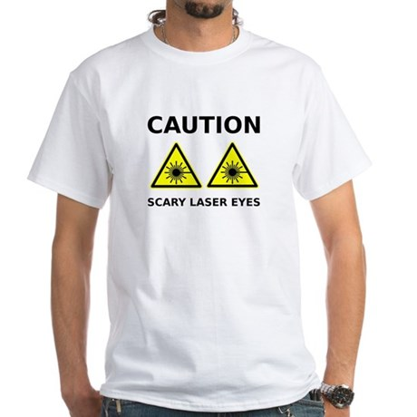 Scary Laser Eyes White T-Shirt