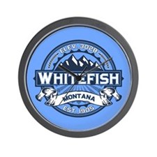 Whitefish Logo Blue Wall Clock