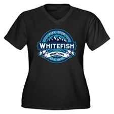 Whitefish Logo Ice Women's Plus Size V-Neck Dark T