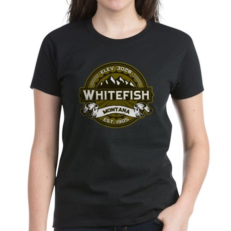 Whitefish Logo Olive Women's Dark T-Shirt