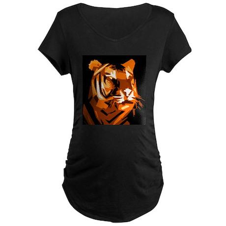 Orange Yellow Tiger Style Des Maternity Dark T-Shi