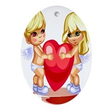 Boy and Girl Angel Cupids Ornament (Oval)