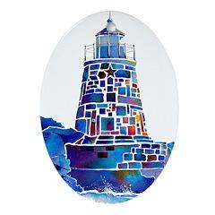Castle Hill Lighthouse R.I. Ornament (Oval)