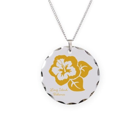 Necklace Circle Charm - Yellow Hibiscus