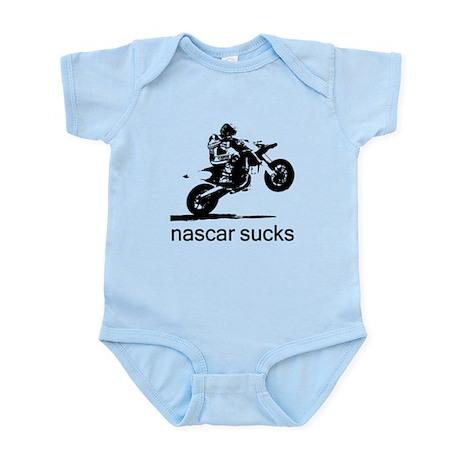 wheelie white nascar sucks Infant Bodysuit