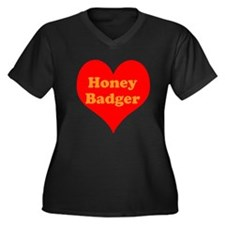 Love Honey Badger Women's Plus Size V-Neck Dark T-