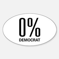 0% Democrat Oval Decal