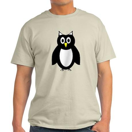 Black And White Owl Design Light T-Shirt