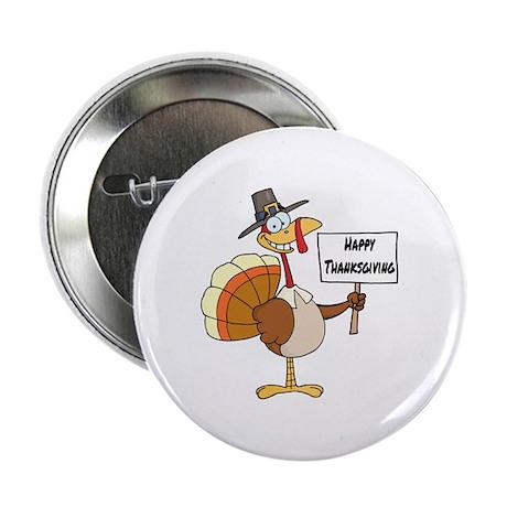 """Happy Thanksgiving Pilgrim Turkey 2.25"""" Button"""