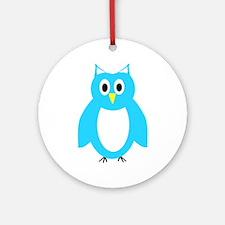 Blue And White Owl Design Ornament (Round)