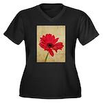Red Gerbera Daisy Flower Women's Plus Size V-Neck