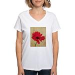 Red Gerbera Daisy Flower Women's V-Neck T-Shirt