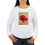 Red Gerbera Daisy Flower Women's Long Sleeve T-Shi