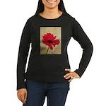 Red Gerbera Daisy Flower Women's Long Sleeve Dark
