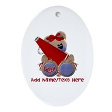 Teddy Cheerleader (red) Ornament (Oval)