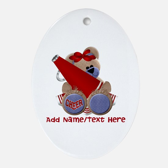 Teddy Cheerleader (red) Ornament (Oval)