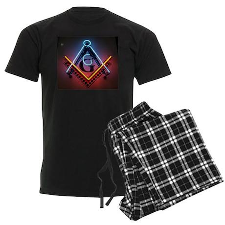 Neon Blue Lodge Men's Dark Pajamas