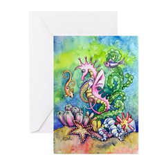 Hugs from mommy seahorse Greeting Cards (Pk of 20)