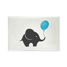 Elephant with balloon Rectangle Magnet (100 pack)