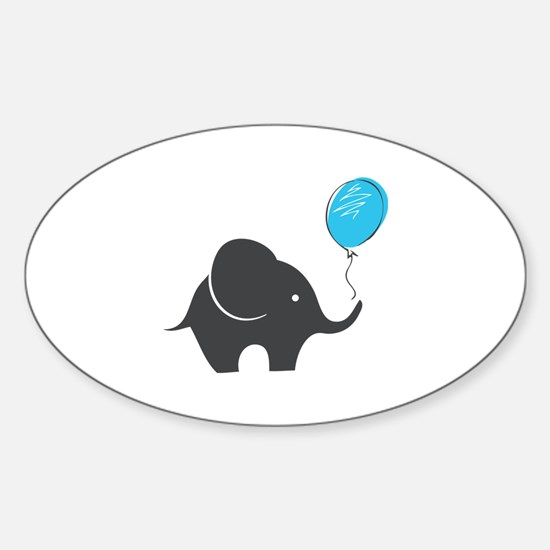 Elephant with balloon Sticker (Oval)