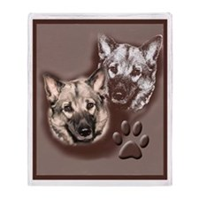 Norwegian elkhound Portrait Throw Blanket