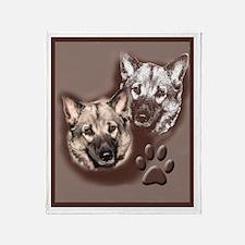 Norwegian elkhound Portrait Throw Blanket