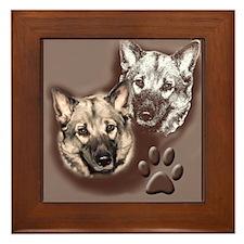 Norwegian elkhound Portrait Framed Tile