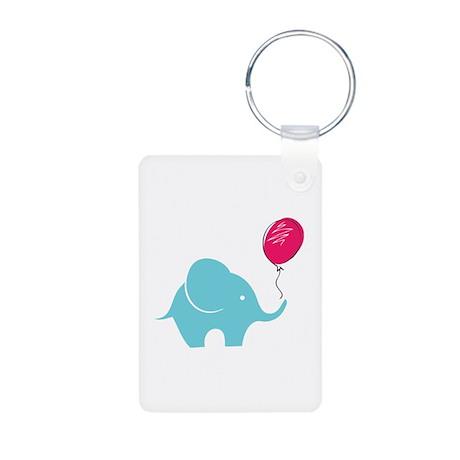 Elephant with balloon Aluminum Photo Keychain