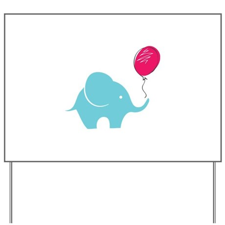 Elephant with balloon Yard Sign