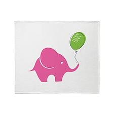 Elephant with balloon Throw Blanket