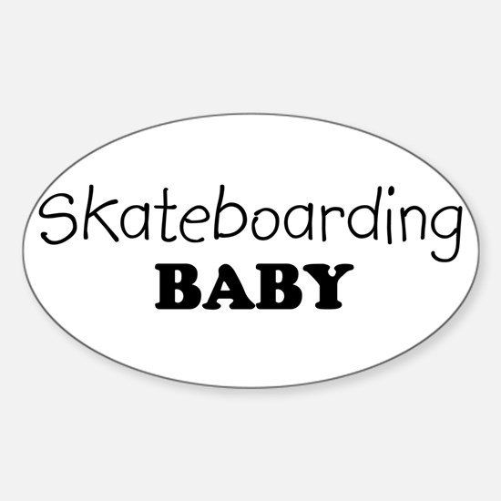 Skateboarding baby Oval Decal