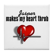 Jasper makes my heart throb Tile Coaster
