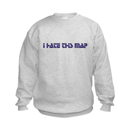 I hate this map Kids Sweatshirt