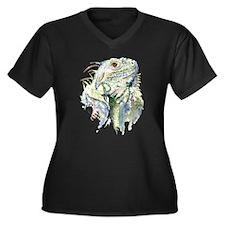 Rex the Iguana Women's Plus Size V-Neck Dark T-Shi