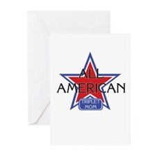 All American Triplet Mom Greeting Cards (Package o
