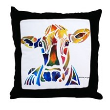 Whimzical Original Cow Art Throw Pillow
