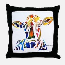 Whimzical Original Cow Art Throw Pillow