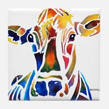 Whimzical Original Cow Art Tile Coaster