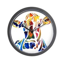 Whimzical Original Cow Art Wall Clock