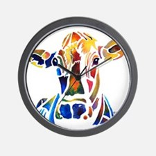 Whimzical Original Cow Art Wall Clock