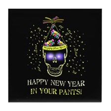 Happy New Year Pants Tile Coaster