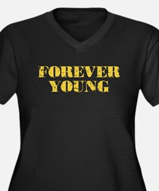 Forever Young Women's Plus Size V-Neck Dark T-Shir