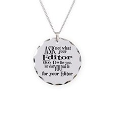 Ask Not Editor Necklace Circle Charm