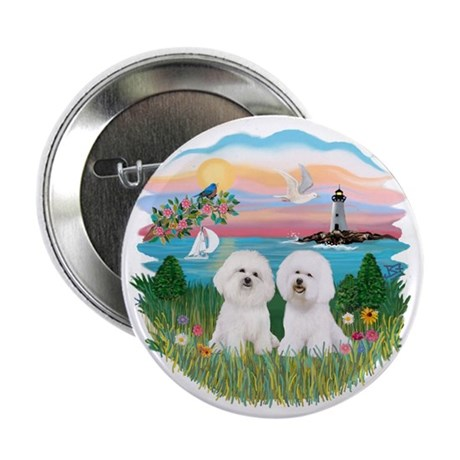 """Lighthouse-Two Bichon 2.25"""" Button (10 pack)"""