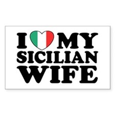 I Love My Sicilian Wife Rectangle Bumper Stickers
