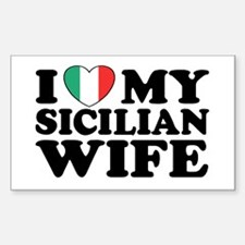 I Love My Sicilian Wife Rectangle Decal